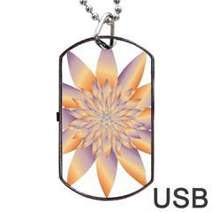 Chromatic Flower Gold Star Floral Dog Tag Usb Flash (two Sides) by Alisyart