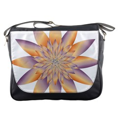Chromatic Flower Gold Star Floral Messenger Bags by Alisyart