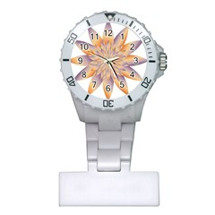 Chromatic Flower Gold Star Floral Plastic Nurses Watch by Alisyart