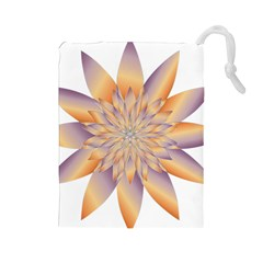 Chromatic Flower Gold Star Floral Drawstring Pouches (large)