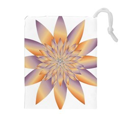 Chromatic Flower Gold Star Floral Drawstring Pouches (extra Large) by Alisyart