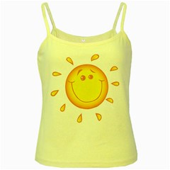 Domain Cartoon Smiling Sun Sunlight Orange Emoji Yellow Spaghetti Tank by Alisyart