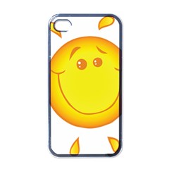Domain Cartoon Smiling Sun Sunlight Orange Emoji Apple Iphone 4 Case (black) by Alisyart