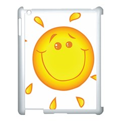 Domain Cartoon Smiling Sun Sunlight Orange Emoji Apple Ipad 3/4 Case (white)