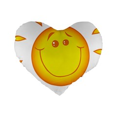 Domain Cartoon Smiling Sun Sunlight Orange Emoji Standard 16  Premium Heart Shape Cushions