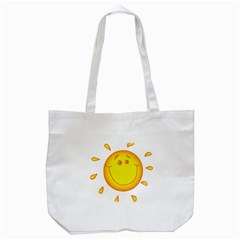 Domain Cartoon Smiling Sun Sunlight Orange Emoji Tote Bag (white) by Alisyart