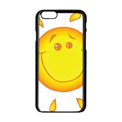 Domain Cartoon Smiling Sun Sunlight Orange Emoji Apple Iphone 6/6s Black Enamel Case