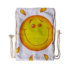 Domain Cartoon Smiling Sun Sunlight Orange Emoji Drawstring Bag (small)