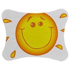Domain Cartoon Smiling Sun Sunlight Orange Emoji Jigsaw Puzzle Photo Stand (bow) by Alisyart