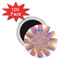 Chromatic Flower Gold Rainbow Star 1 75  Magnets (100 Pack)  by Alisyart