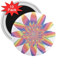 Chromatic Flower Gold Rainbow Star 3  Magnets (10 Pack)  by Alisyart