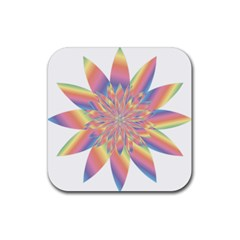 Chromatic Flower Gold Rainbow Star Rubber Coaster (square)