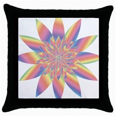 Chromatic Flower Gold Rainbow Star Throw Pillow Case (black) by Alisyart