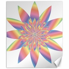 Chromatic Flower Gold Rainbow Star Canvas 8  X 10