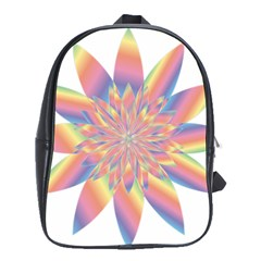 Chromatic Flower Gold Rainbow Star School Bags(large)  by Alisyart
