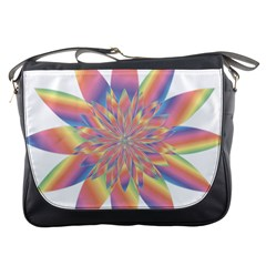 Chromatic Flower Gold Rainbow Star Messenger Bags by Alisyart