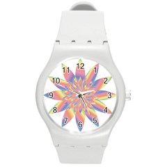 Chromatic Flower Gold Rainbow Star Round Plastic Sport Watch (m)