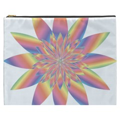 Chromatic Flower Gold Rainbow Star Cosmetic Bag (xxxl)