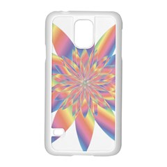 Chromatic Flower Gold Rainbow Star Samsung Galaxy S5 Case (white)