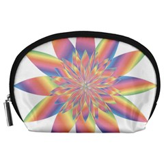 Chromatic Flower Gold Rainbow Star Accessory Pouches (large)  by Alisyart