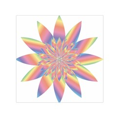 Chromatic Flower Gold Rainbow Star Small Satin Scarf (square)