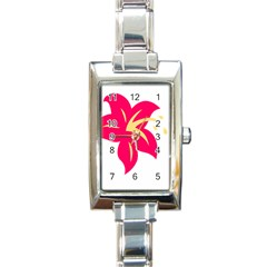 Flower Floral Lily Blossom Red Yellow Rectangle Italian Charm Watch by Alisyart