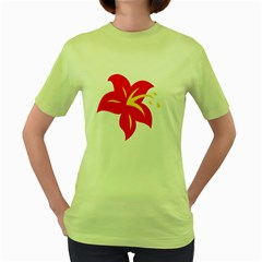 Flower Floral Lily Blossom Red Yellow Women s Green T Shirt