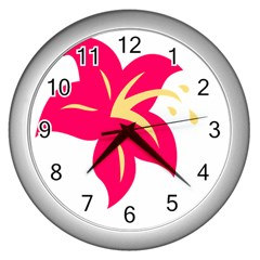 Flower Floral Lily Blossom Red Yellow Wall Clocks (silver)  by Alisyart