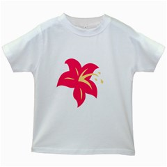 Flower Floral Lily Blossom Red Yellow Kids White T Shirts by Alisyart