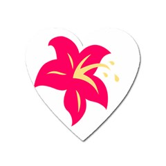 Flower Floral Lily Blossom Red Yellow Heart Magnet