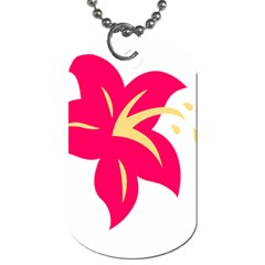 Flower Floral Lily Blossom Red Yellow Dog Tag (two Sides)