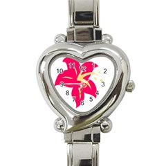 Flower Floral Lily Blossom Red Yellow Heart Italian Charm Watch by Alisyart