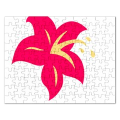 Flower Floral Lily Blossom Red Yellow Rectangular Jigsaw Puzzl