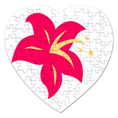 Flower Floral Lily Blossom Red Yellow Jigsaw Puzzle (heart)