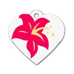 Flower Floral Lily Blossom Red Yellow Dog Tag Heart (one Side)