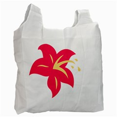 Flower Floral Lily Blossom Red Yellow Recycle Bag (one Side) by Alisyart