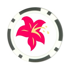 Flower Floral Lily Blossom Red Yellow Poker Chip Card Guard (10 Pack)