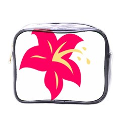 Flower Floral Lily Blossom Red Yellow Mini Toiletries Bags by Alisyart