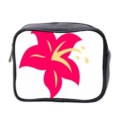 Flower Floral Lily Blossom Red Yellow Mini Toiletries Bag 2 Side by Alisyart