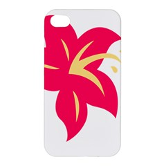 Flower Floral Lily Blossom Red Yellow Apple Iphone 4/4s Hardshell Case by Alisyart