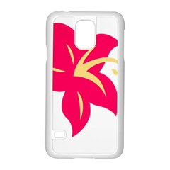 Flower Floral Lily Blossom Red Yellow Samsung Galaxy S5 Case (white)