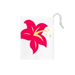 Flower Floral Lily Blossom Red Yellow Drawstring Pouches (small)  by Alisyart