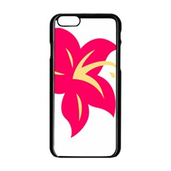 Flower Floral Lily Blossom Red Yellow Apple Iphone 6/6s Black Enamel Case by Alisyart
