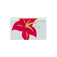 Flower Floral Lily Blossom Red Yellow Cosmetic Bag (xs)