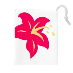 Flower Floral Lily Blossom Red Yellow Drawstring Pouches (extra Large) by Alisyart