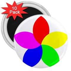 Fan Star Floral 3  Magnets (10 Pack)