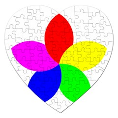 Fan Star Floral Jigsaw Puzzle (heart) by Alisyart