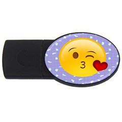 Face Smile Orange Red Heart Emoji Usb Flash Drive Oval (2 Gb) by Alisyart