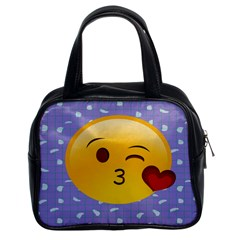 Face Smile Orange Red Heart Emoji Classic Handbags (2 Sides) by Alisyart