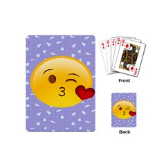Face Smile Orange Red Heart Emoji Playing Cards (mini)